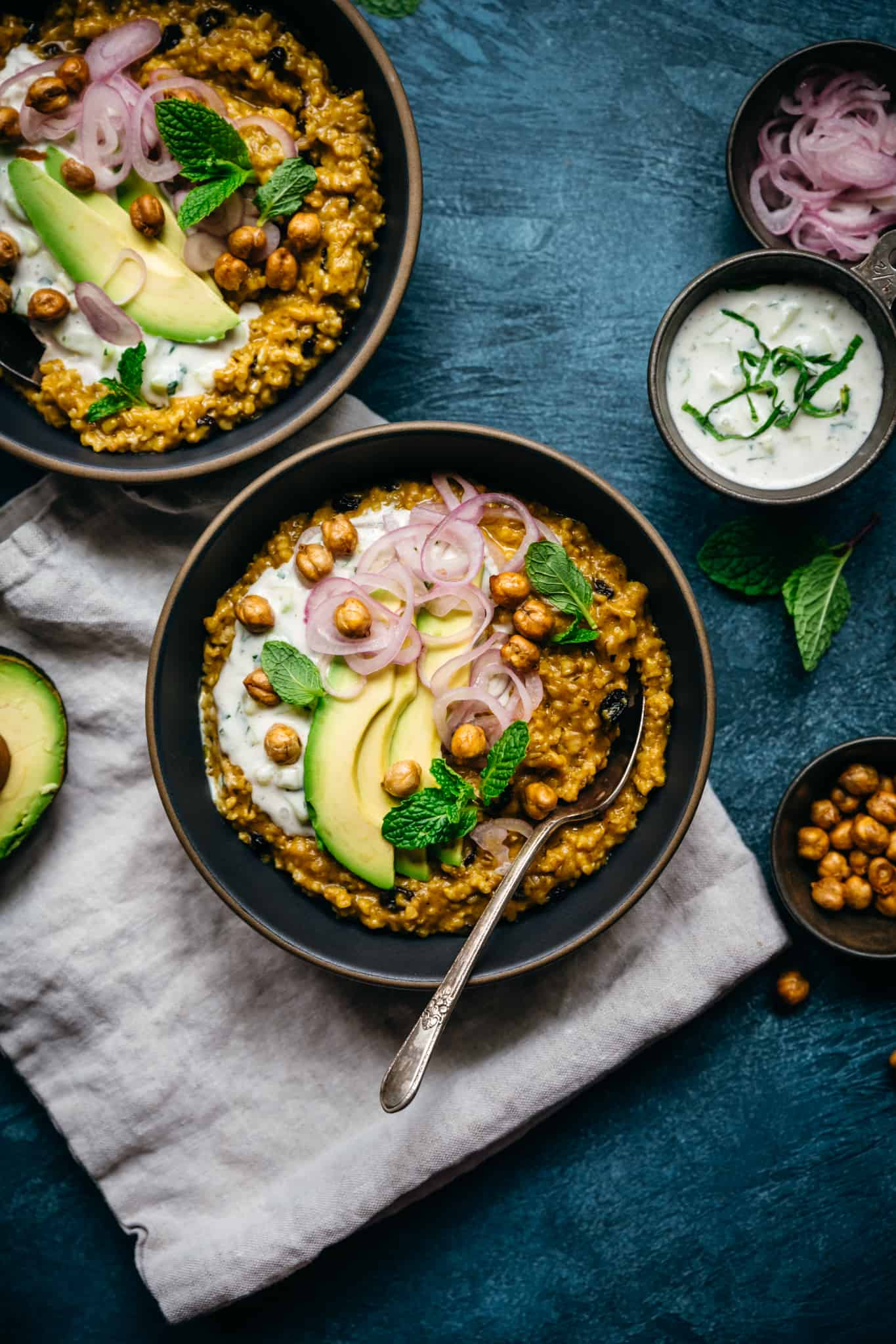 overhead view of savory Indian-spiced steel cut oats