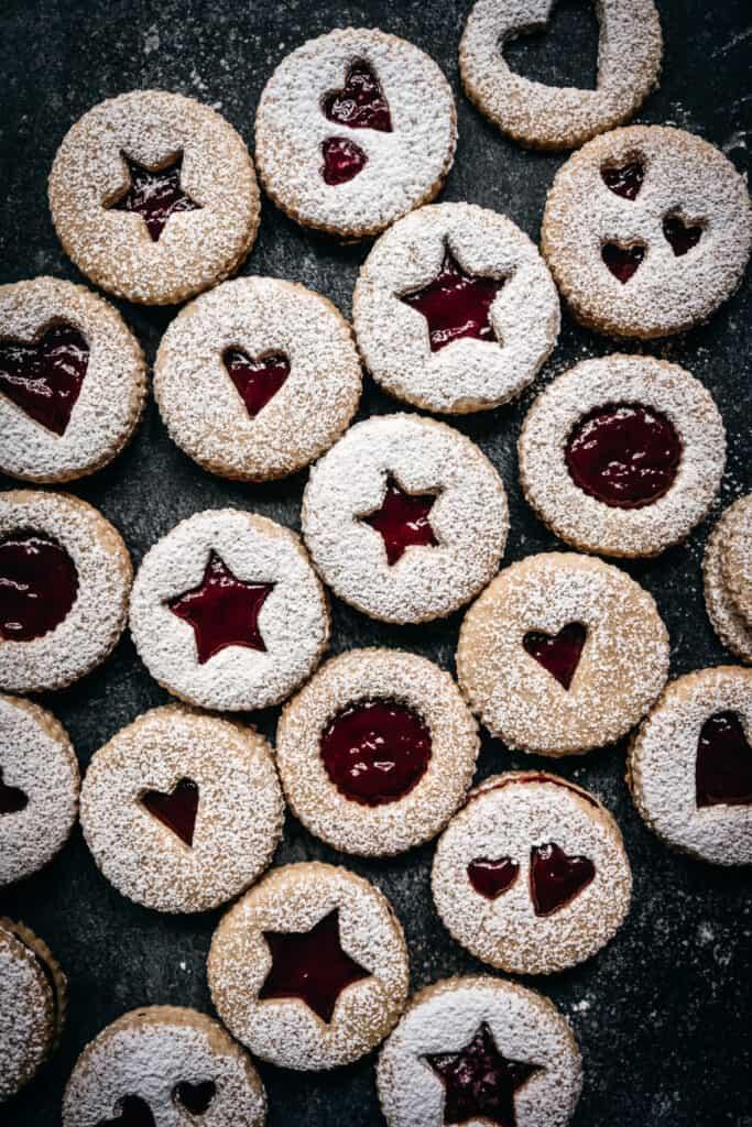 overhead view of gluten free and vegan linzer cookies