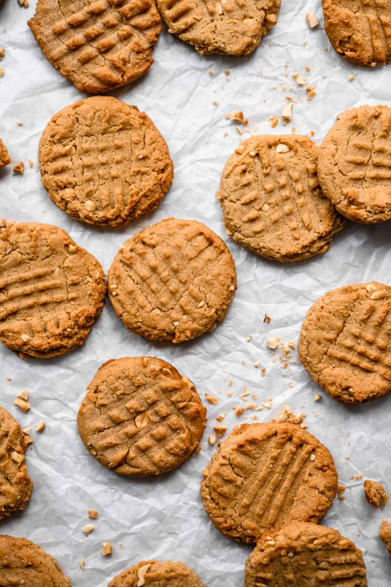 overhead view of vegan and gluten free peanut butter cookies on parchment paper