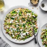 White bean and edamame salad on a plate, seen from above.