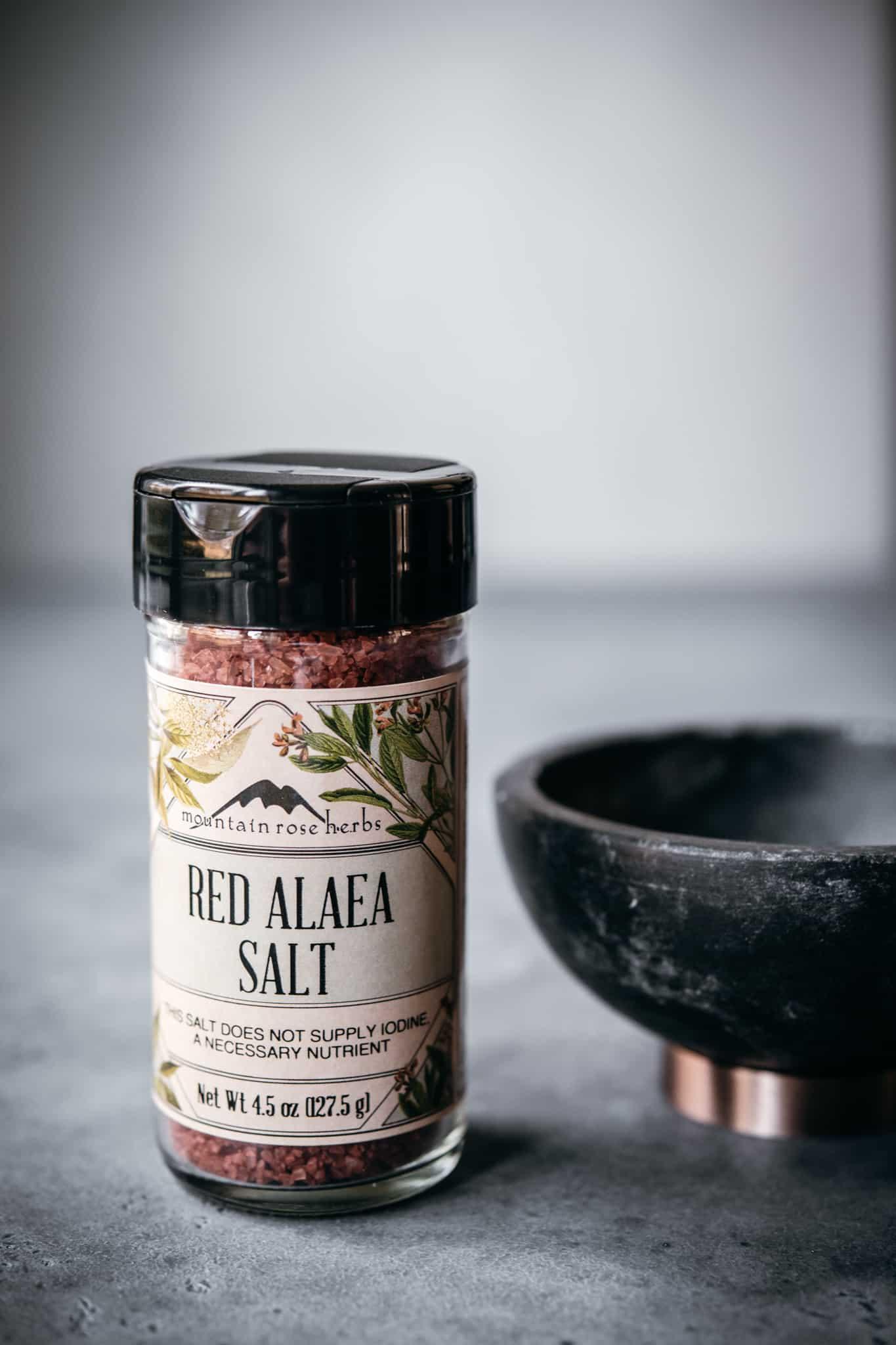 Mountain Rose Herbs red alaea salt in bottle