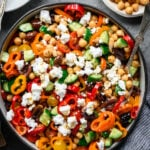 Bowl of greek chickpea salad from above.