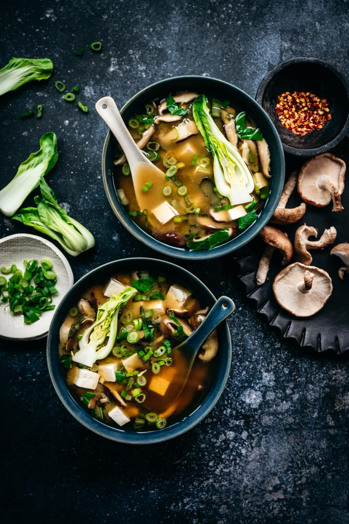 overhead view of two bowls of vegan miso soup