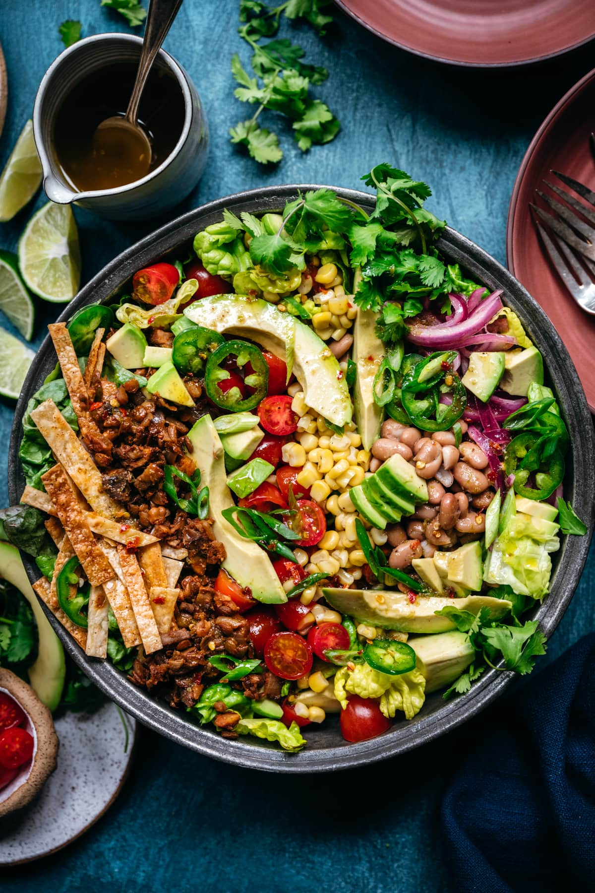 overhead view of vegan taco salad in large bowl