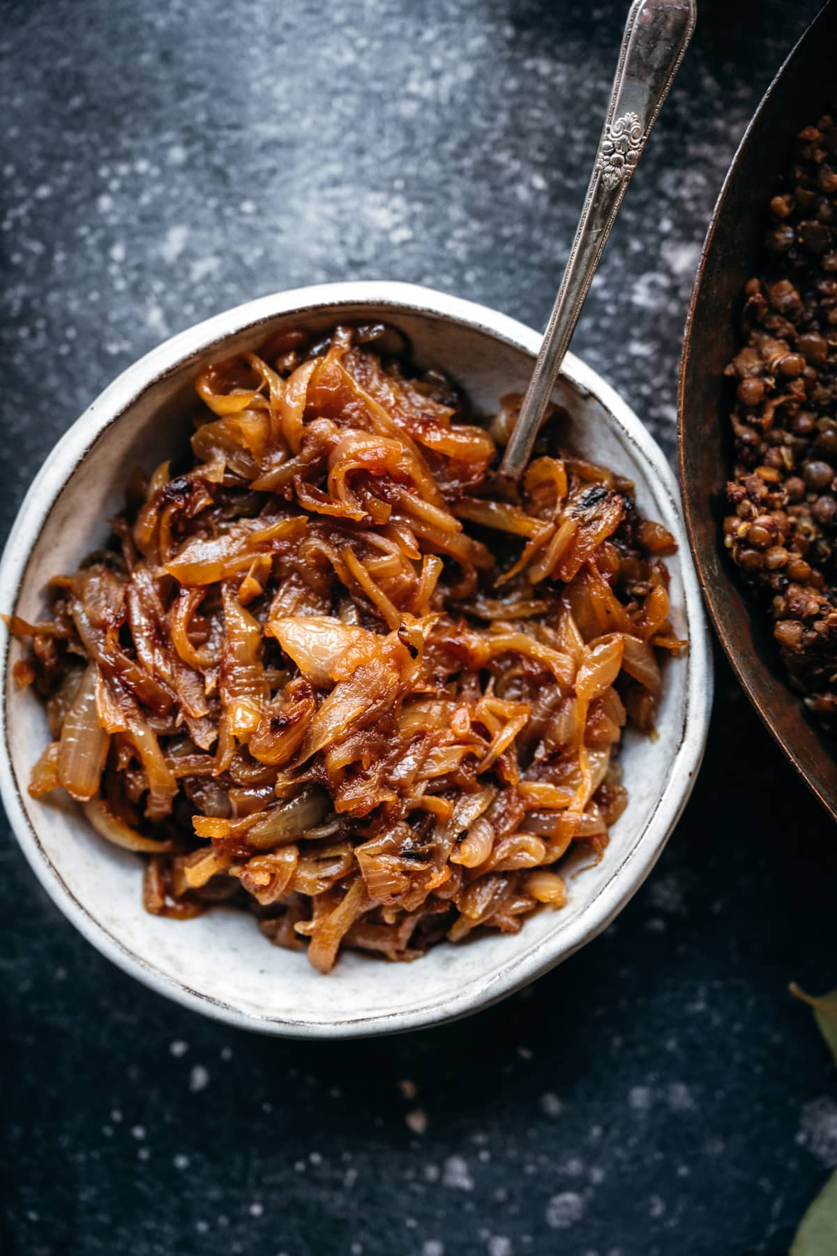 close up view of caramelized onions in a bowl