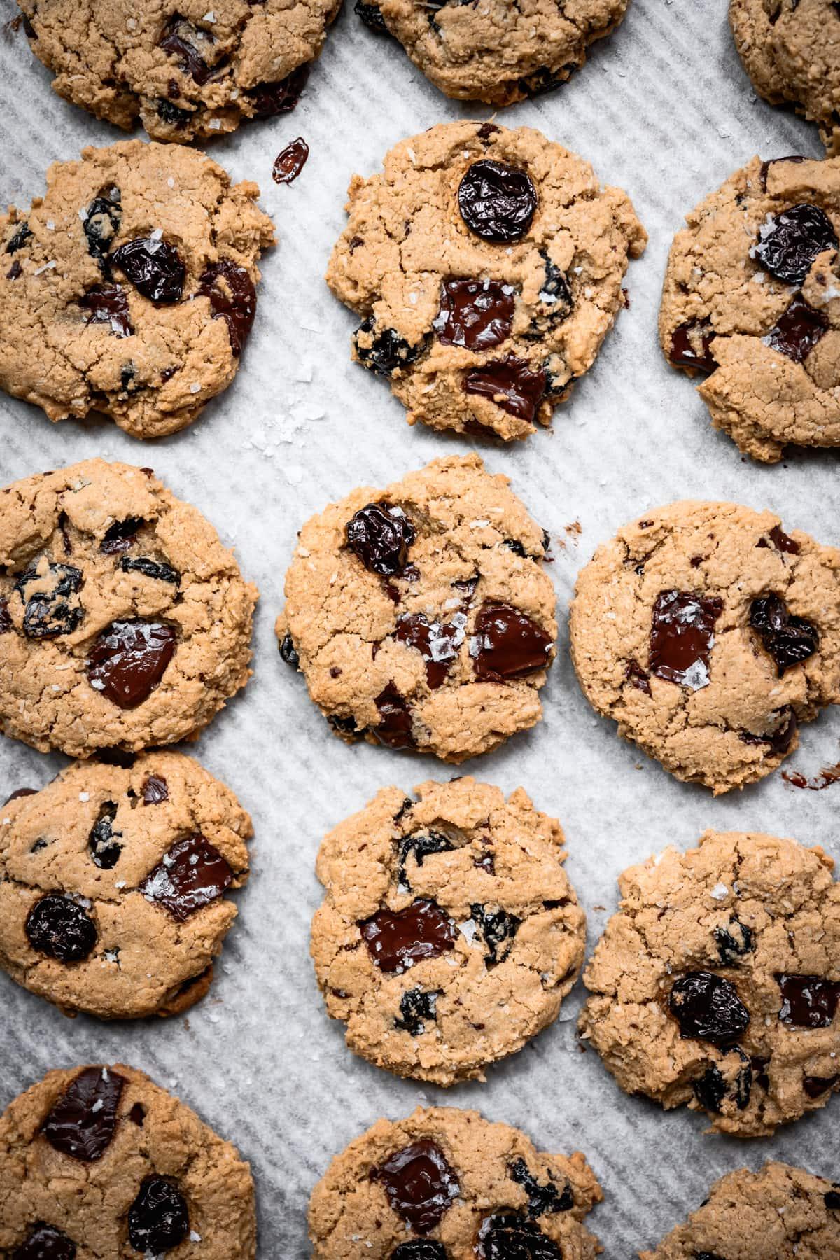 overhead view of vegan dark chocolate cherry oatmeal cookies