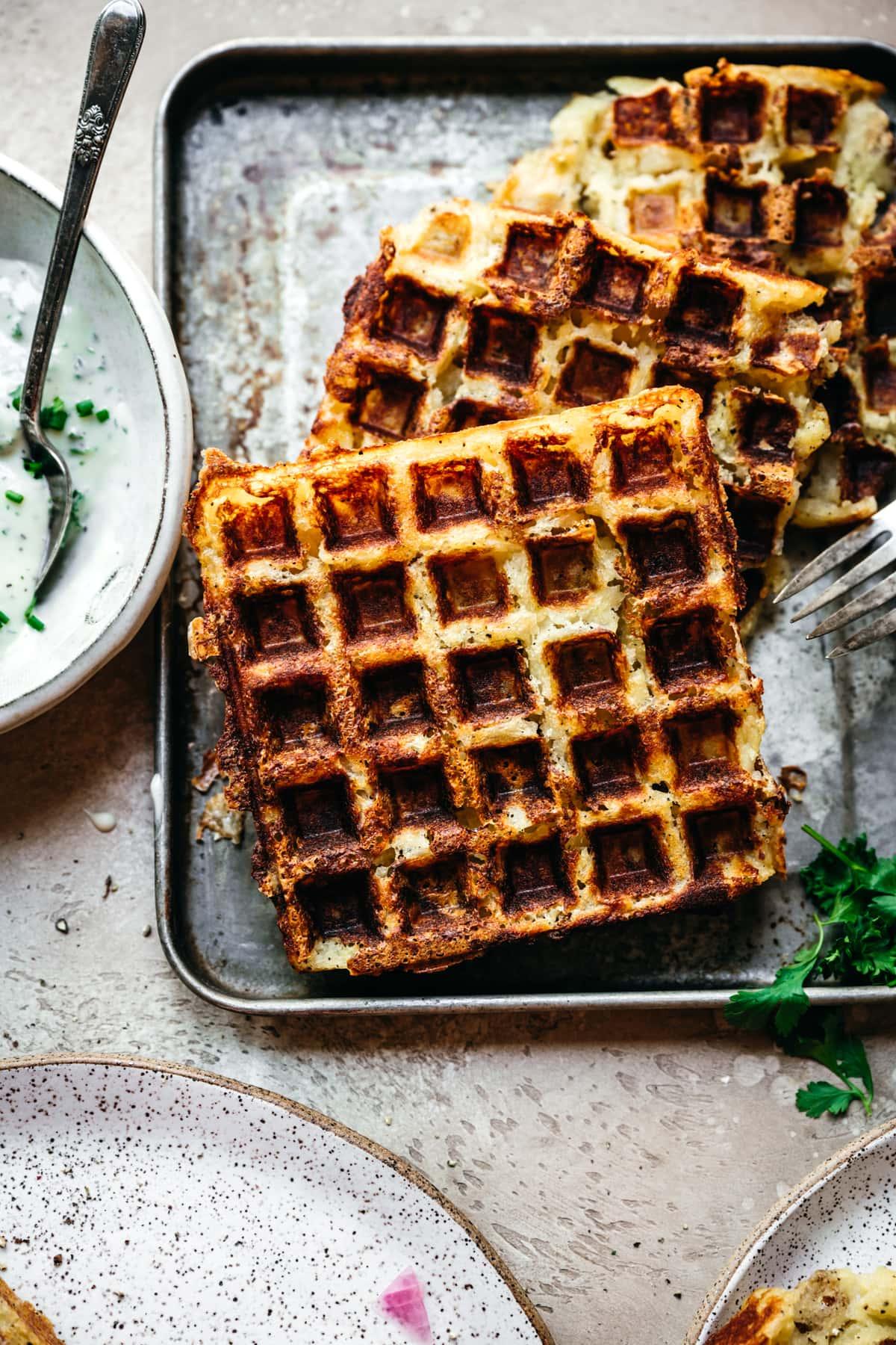 crispy mashed potato waffles