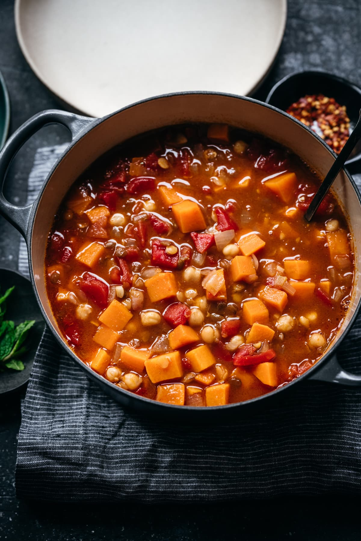 side view of Moroccan chickpea lentil stew in pot