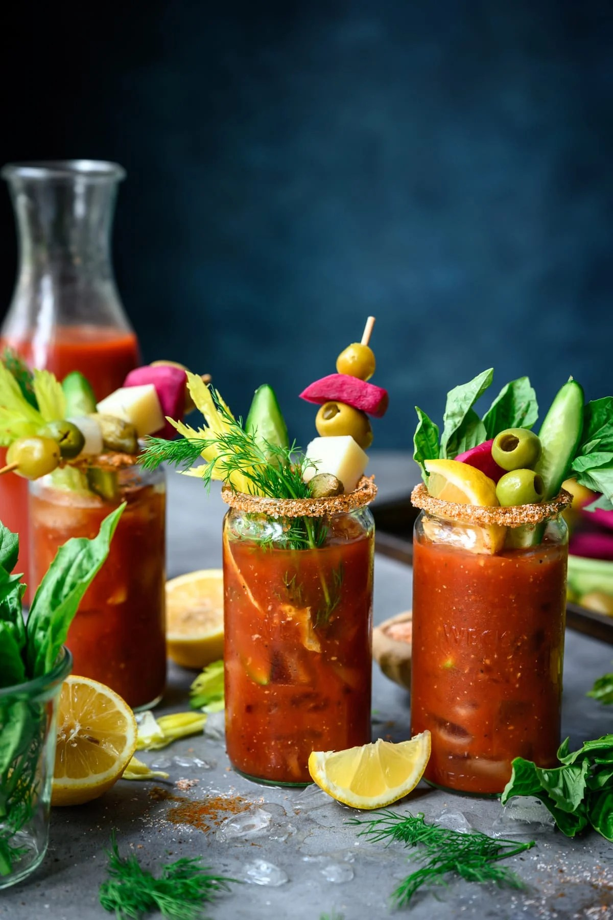 side view of bloody mary bar with toppings