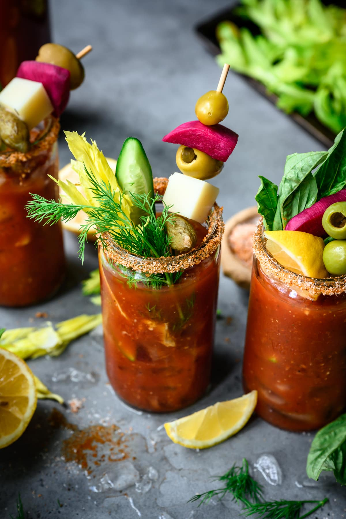 side view of bloody mary with garnishes