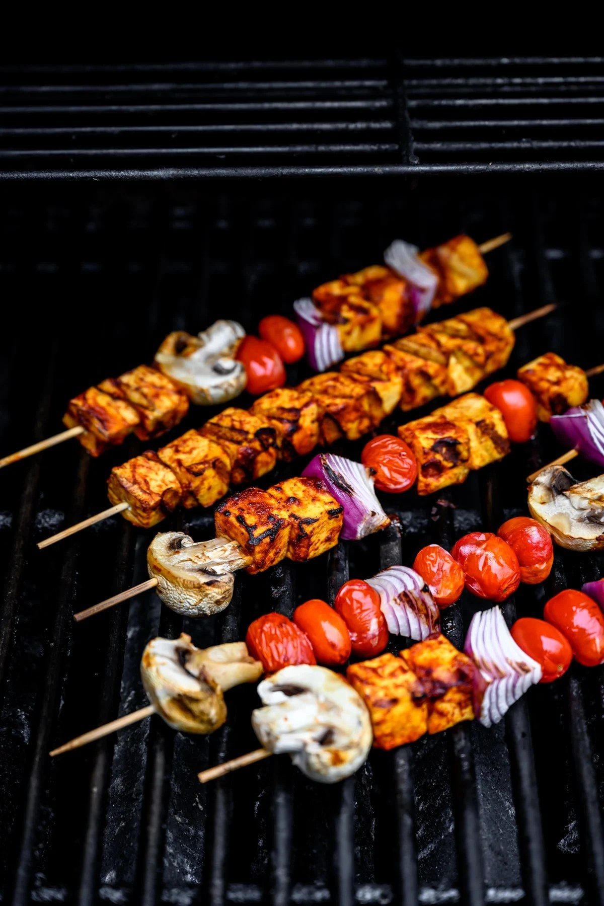 grilled tofu kebabs on the grill