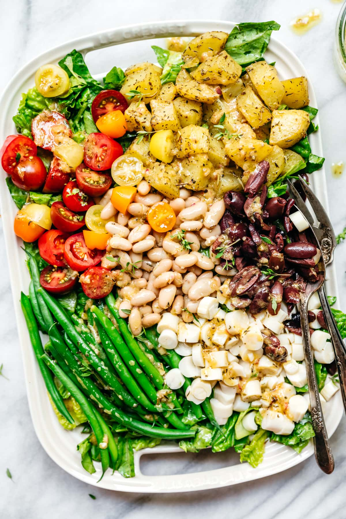 overhead view of a vegan nicoise salad