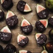 overhead view of dark chocolate dipped figs