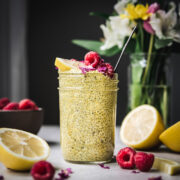 side view of vegan lemon turmeric chia pudding