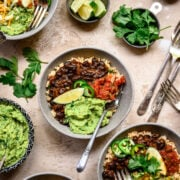 overhead view of vegan burrito bowls