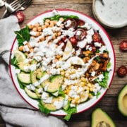 overhead view of vegan cobb salad with ranch dressing