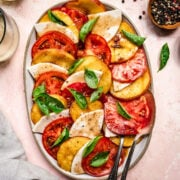 overhead view of vegan caprese salad