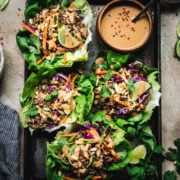 overhead view of Vegan Asian-Inspired Lettuce Wraps