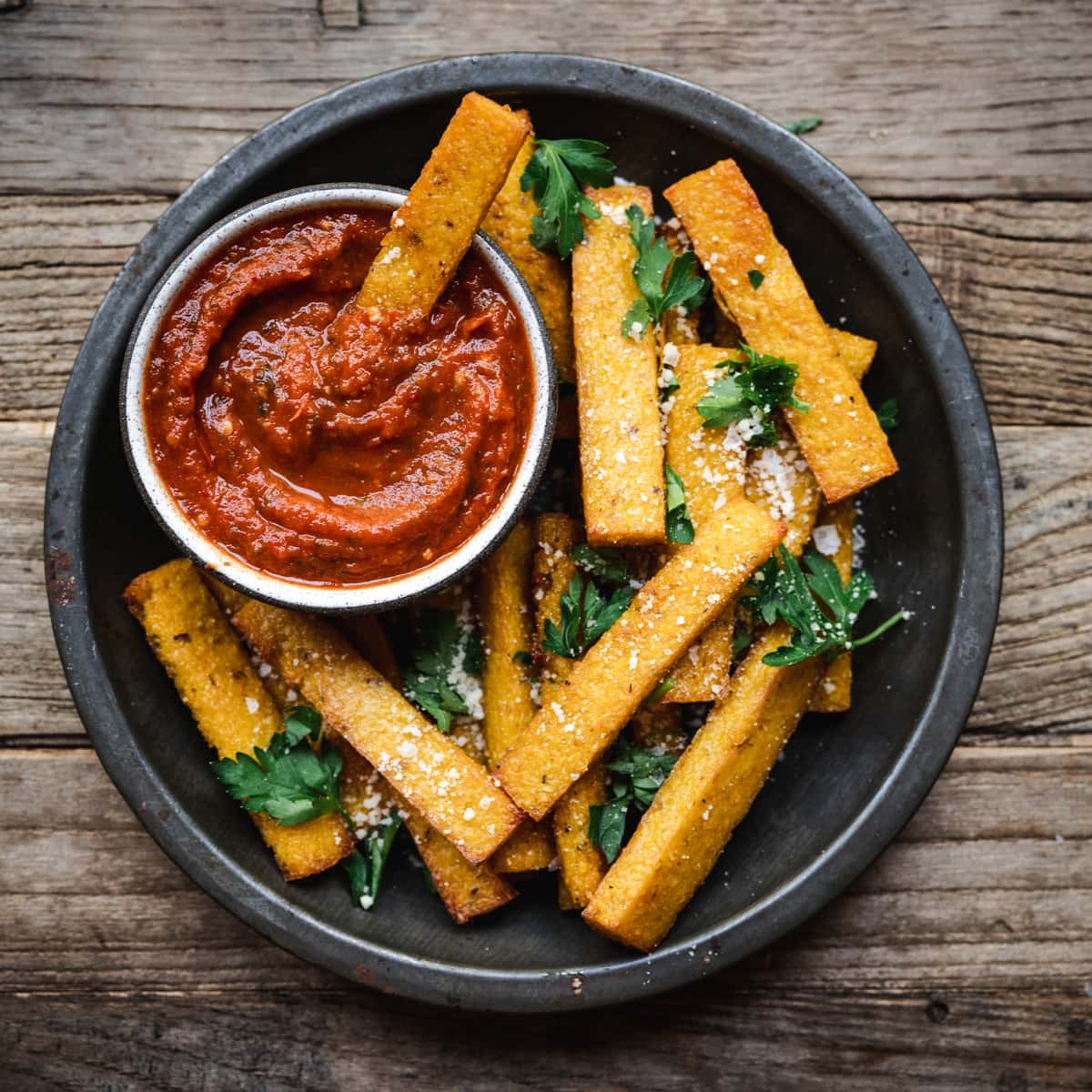 Polenta Fries With Marinara Dipping Sauce Vegan Crowded Kitchen