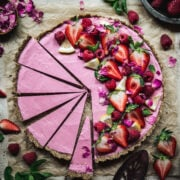overhead view of Vegan Strawberry Mousse Pie