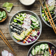 overhead view of Vegan Sushi Bowls with Miso Tahini Dressing