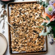 overhead view of vegan lemon blueberry coconut granola on a sheet pan
