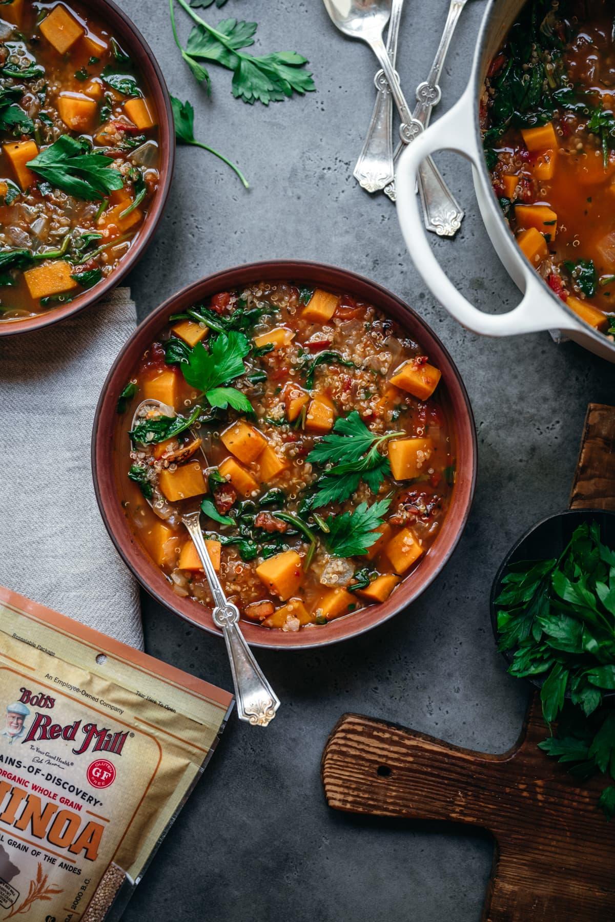 overhead view of quinoa vegetable soup.