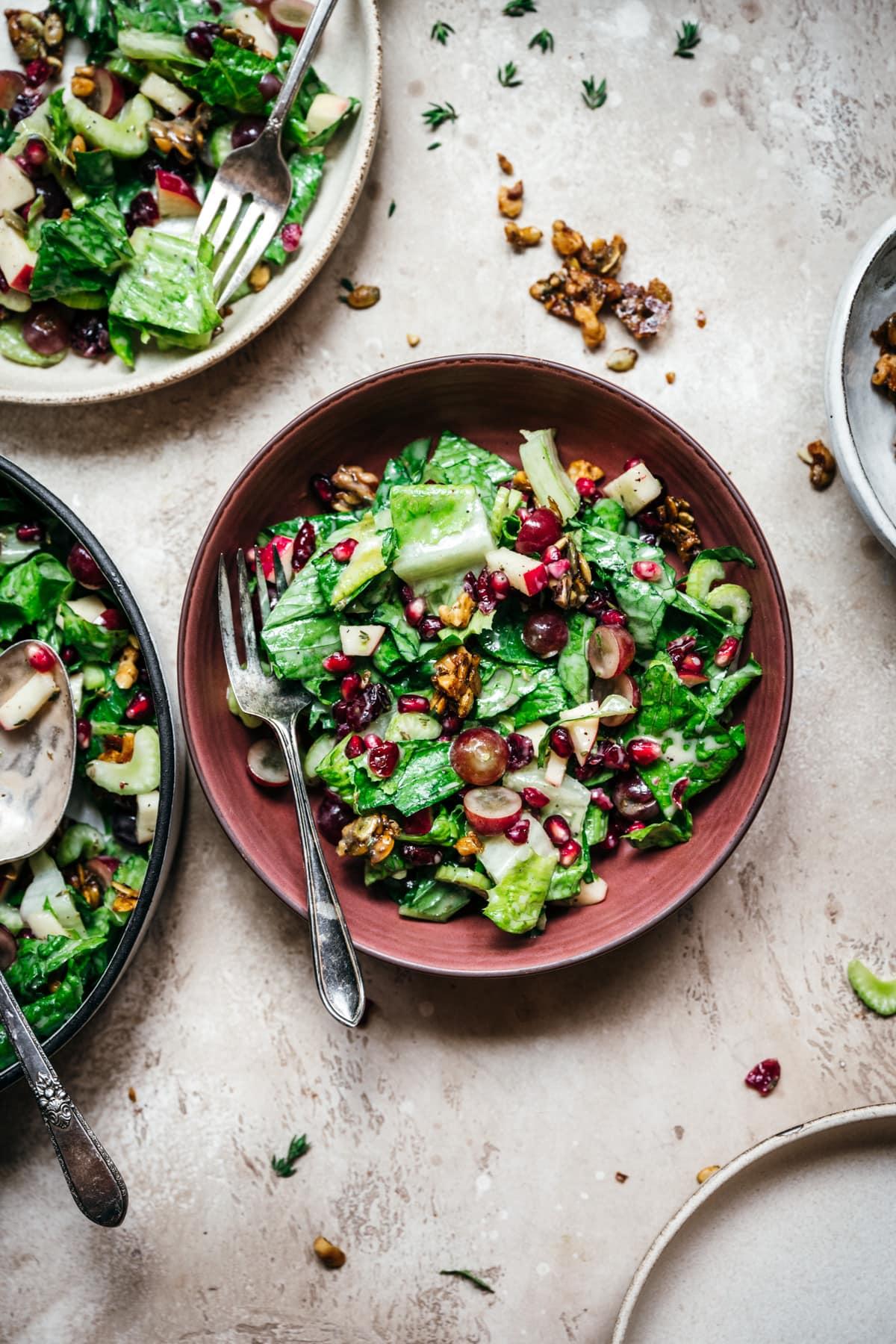 overhead view of bowls of vegan waldorf salad.