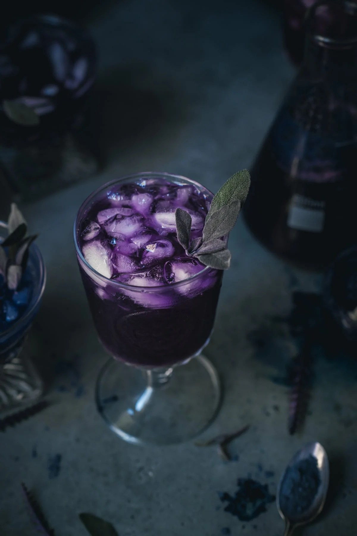 purple cocktail in a glass