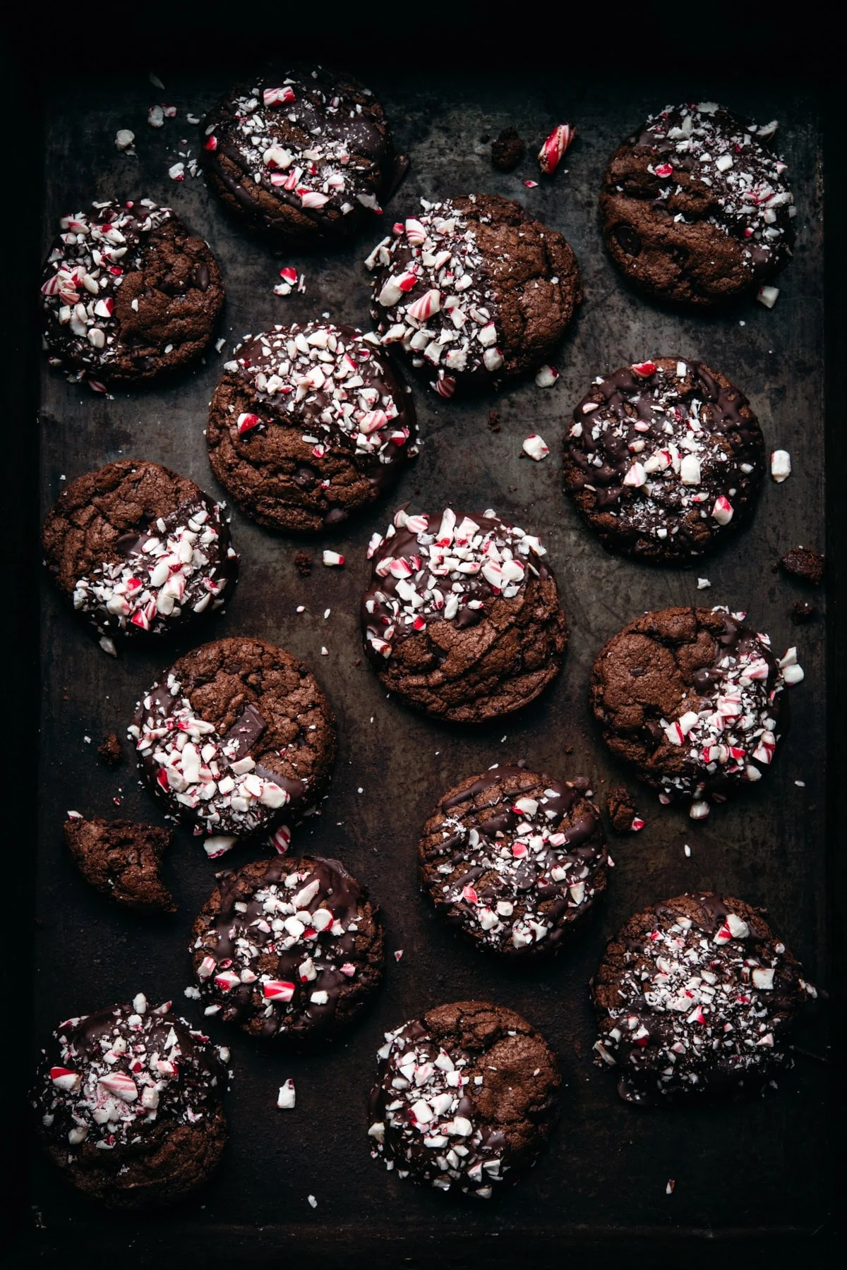 overhead view of chocolate peppermint cookies on sheet pan.