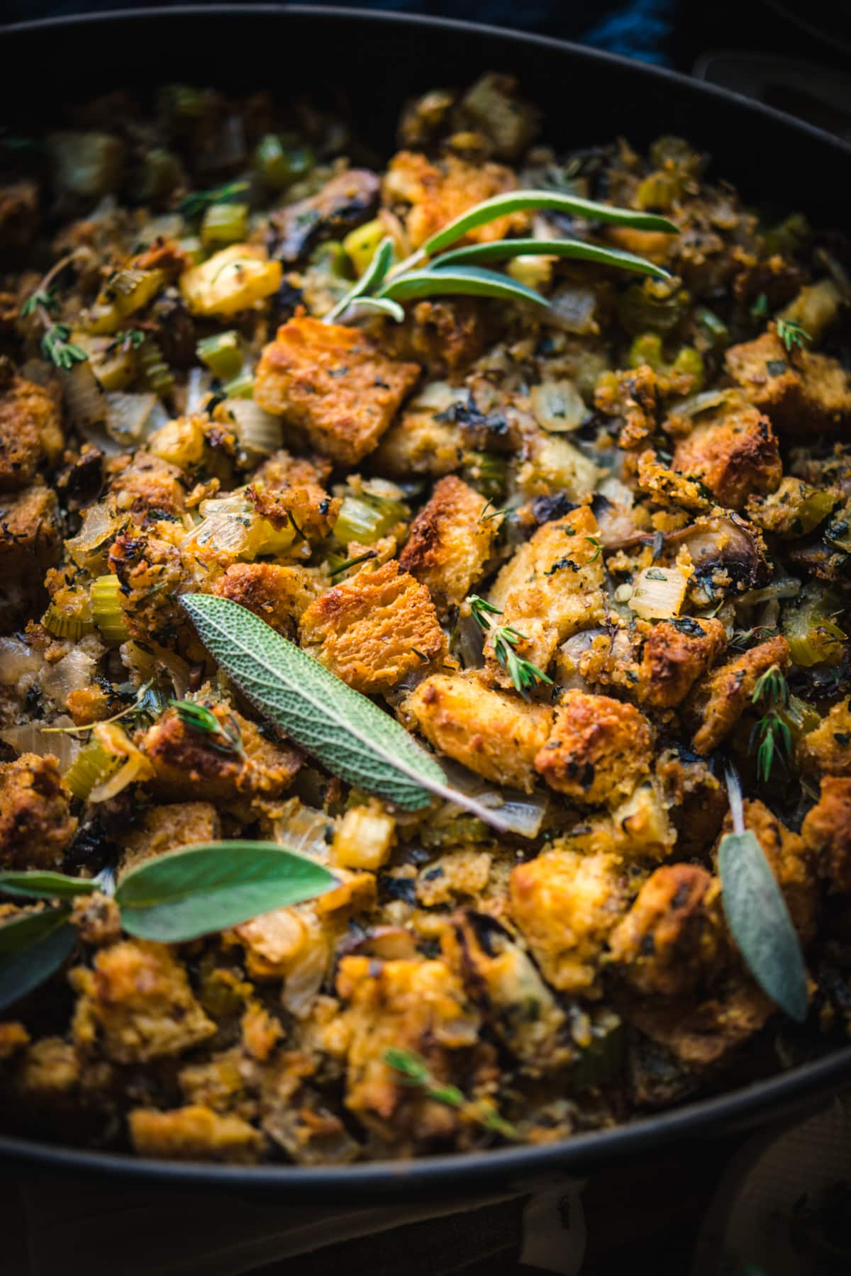 close up side view of gluten free stuffing.