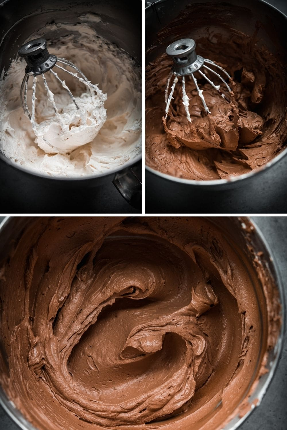 3 photos showing the process of making vegan chocolate buttercream in stand mixer bowl.