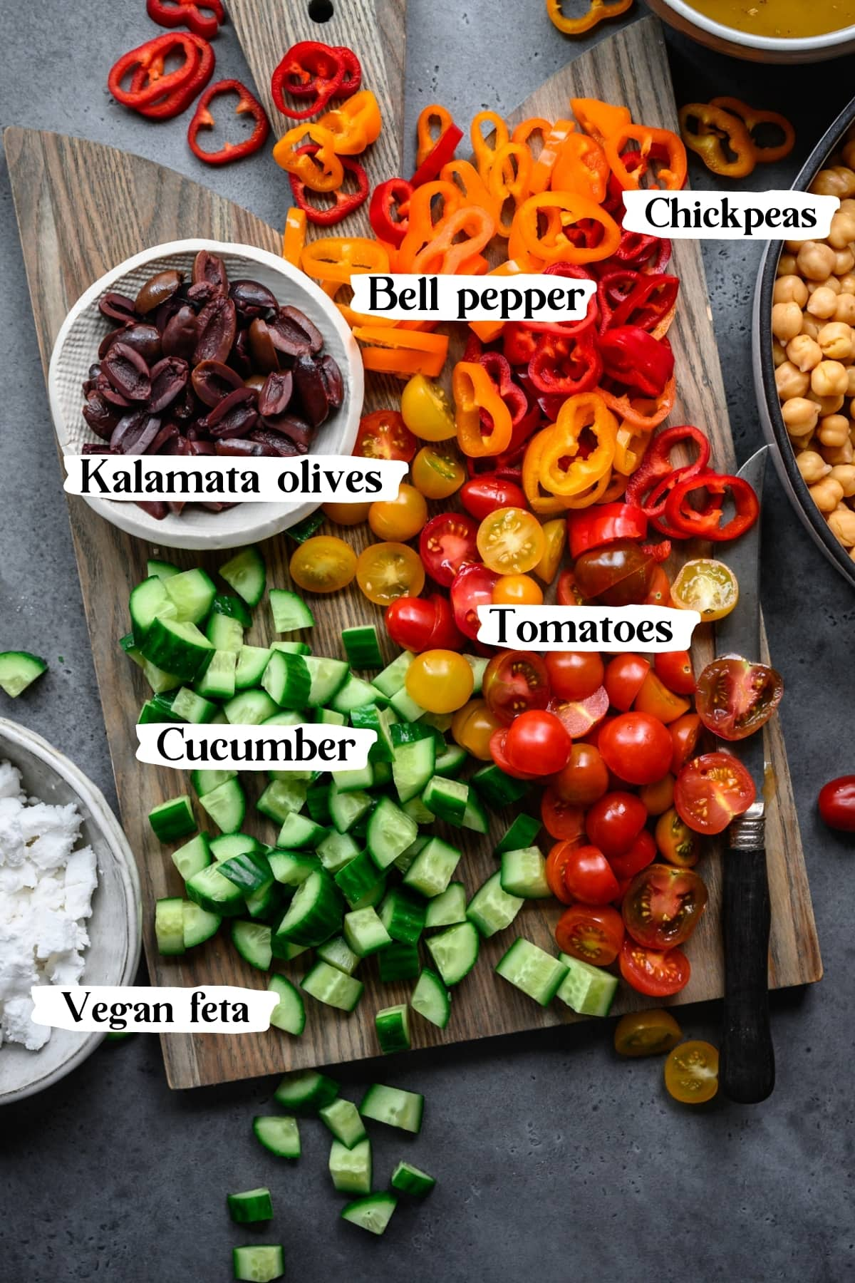 overhead view of ingredients for greek chickpea salad.