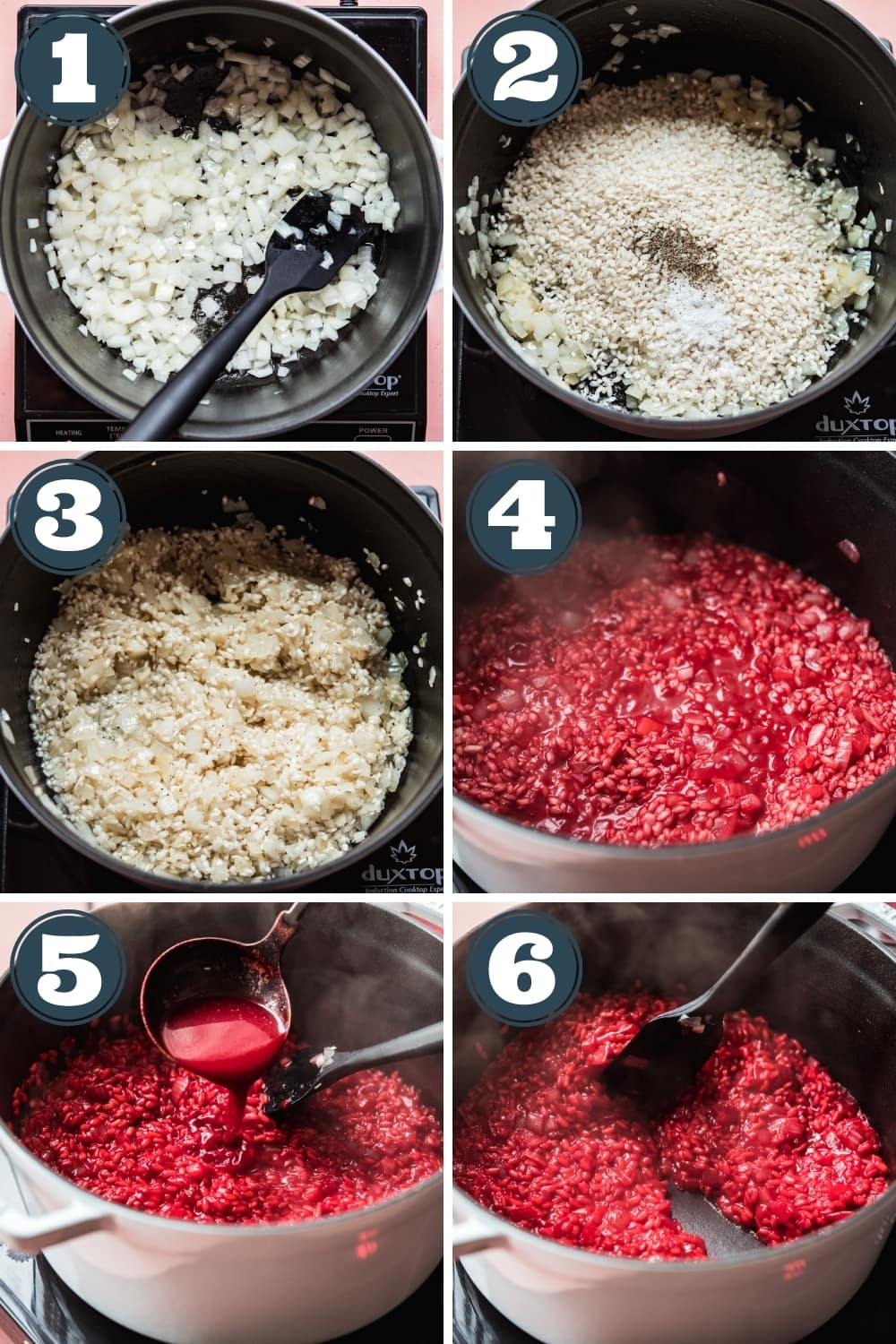 step-by-step photos for making beet risotto in a large pot.
