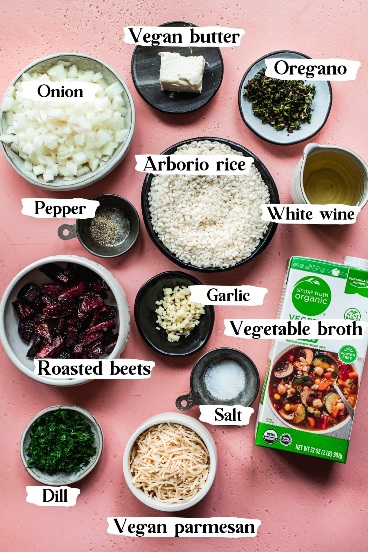 overhead view of ingredients for vegan beet risotto with text labels.