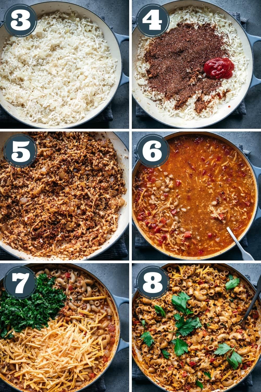 steps for how to make vegan hamburger helper in a large skillet.