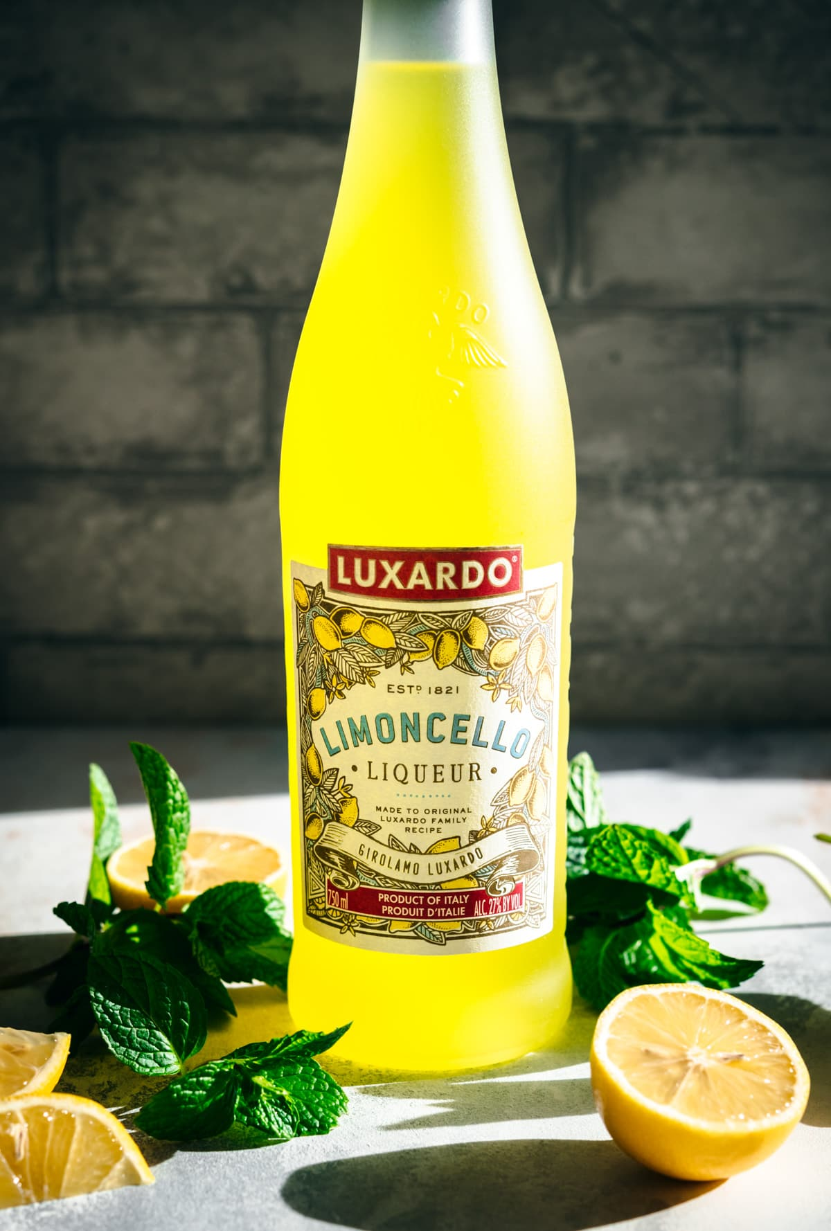 close up view of bottle of limoncello.