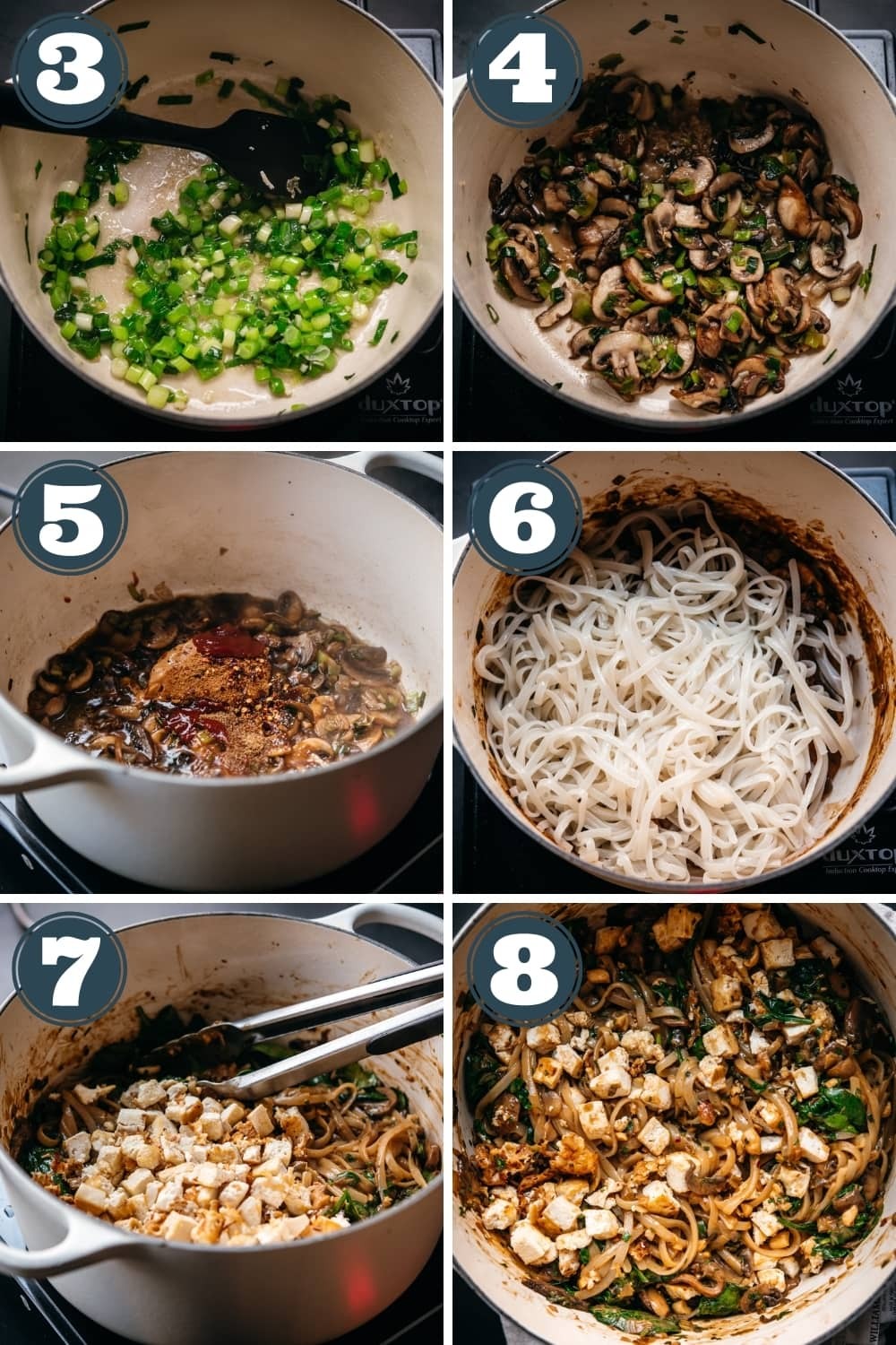 step-by-step instructions for making vegan pad thai in a large pot.