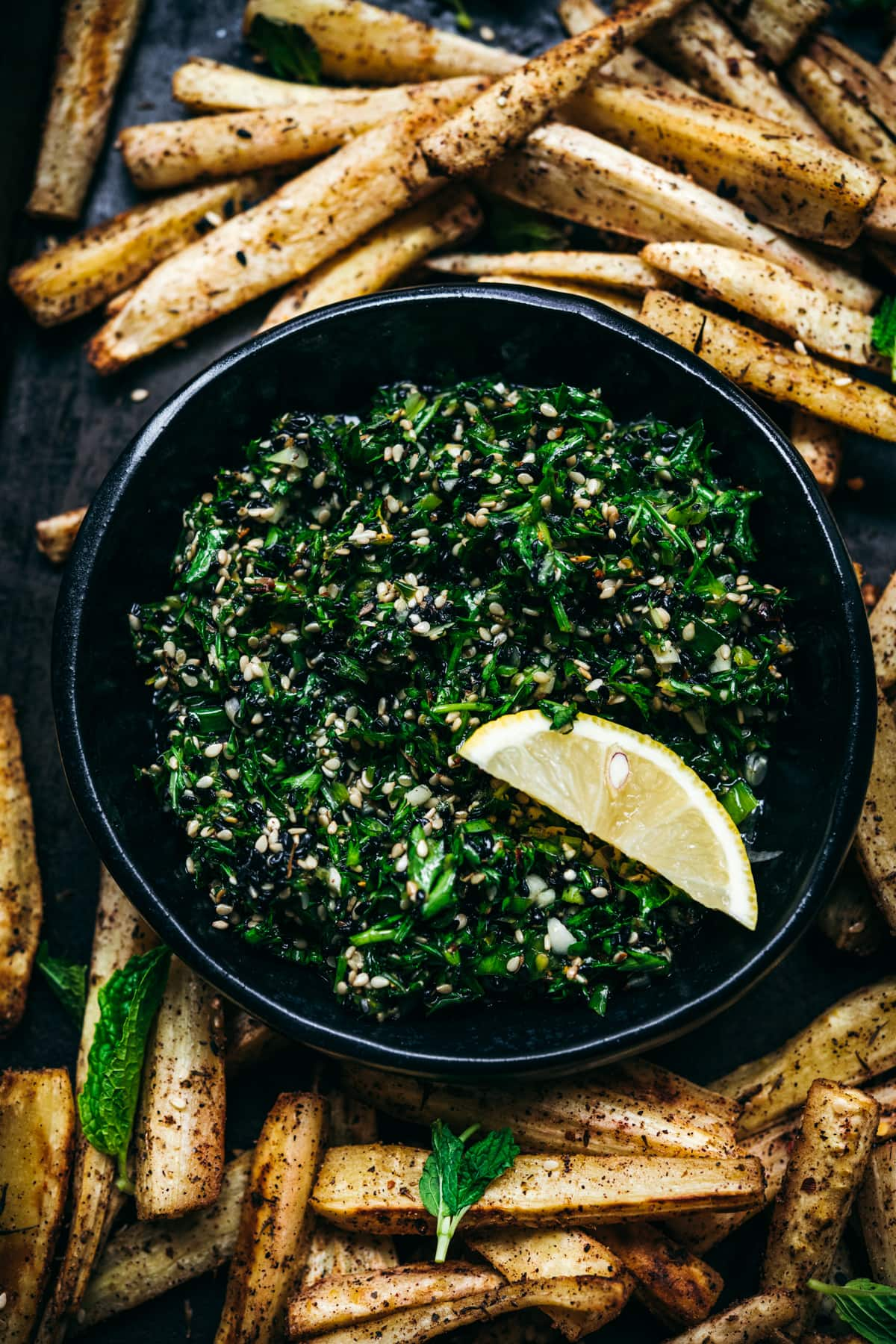 close up view of za'atar gremolata in bowl.