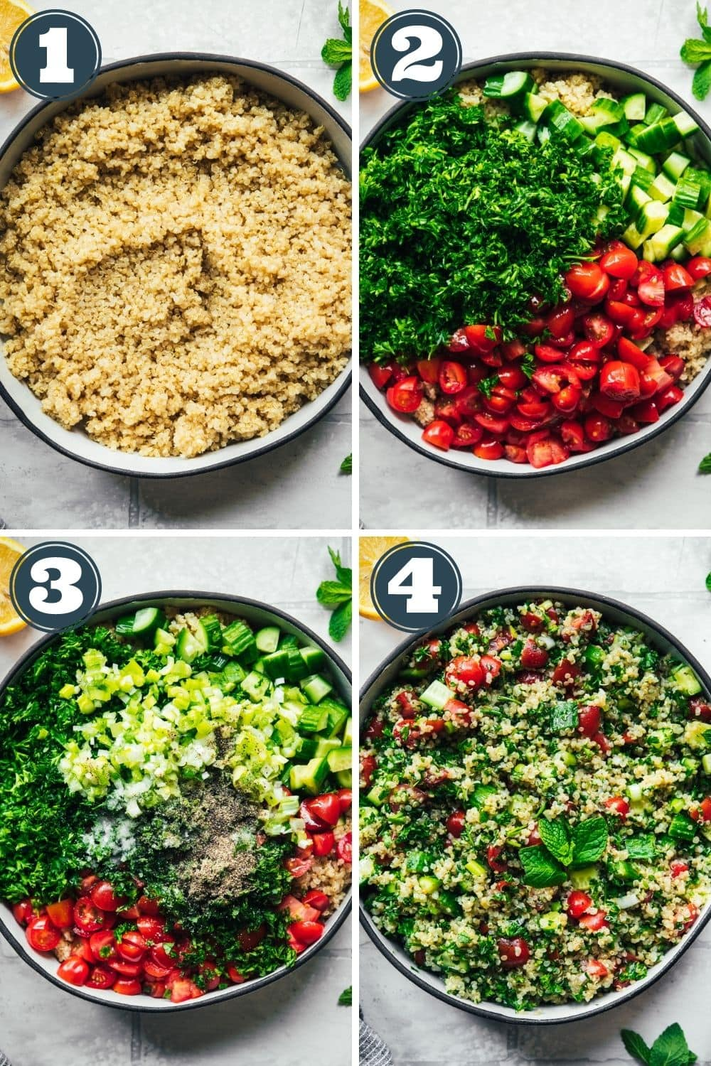 How to assemble a quinoa tabbouleh salad in 4 steps.