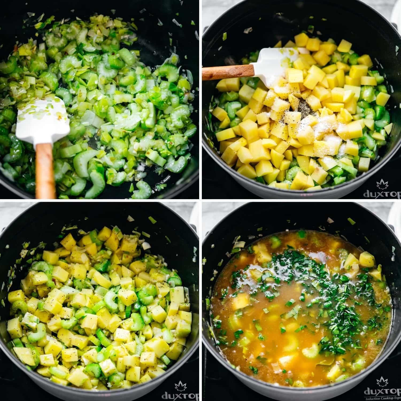 steps of making potato kale soup in large white pot.