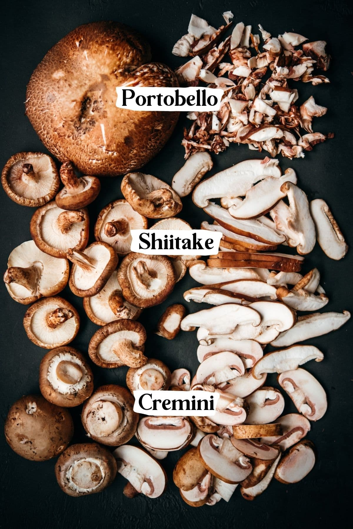 overhead view of 3 types of mushrooms on black backdrop.
