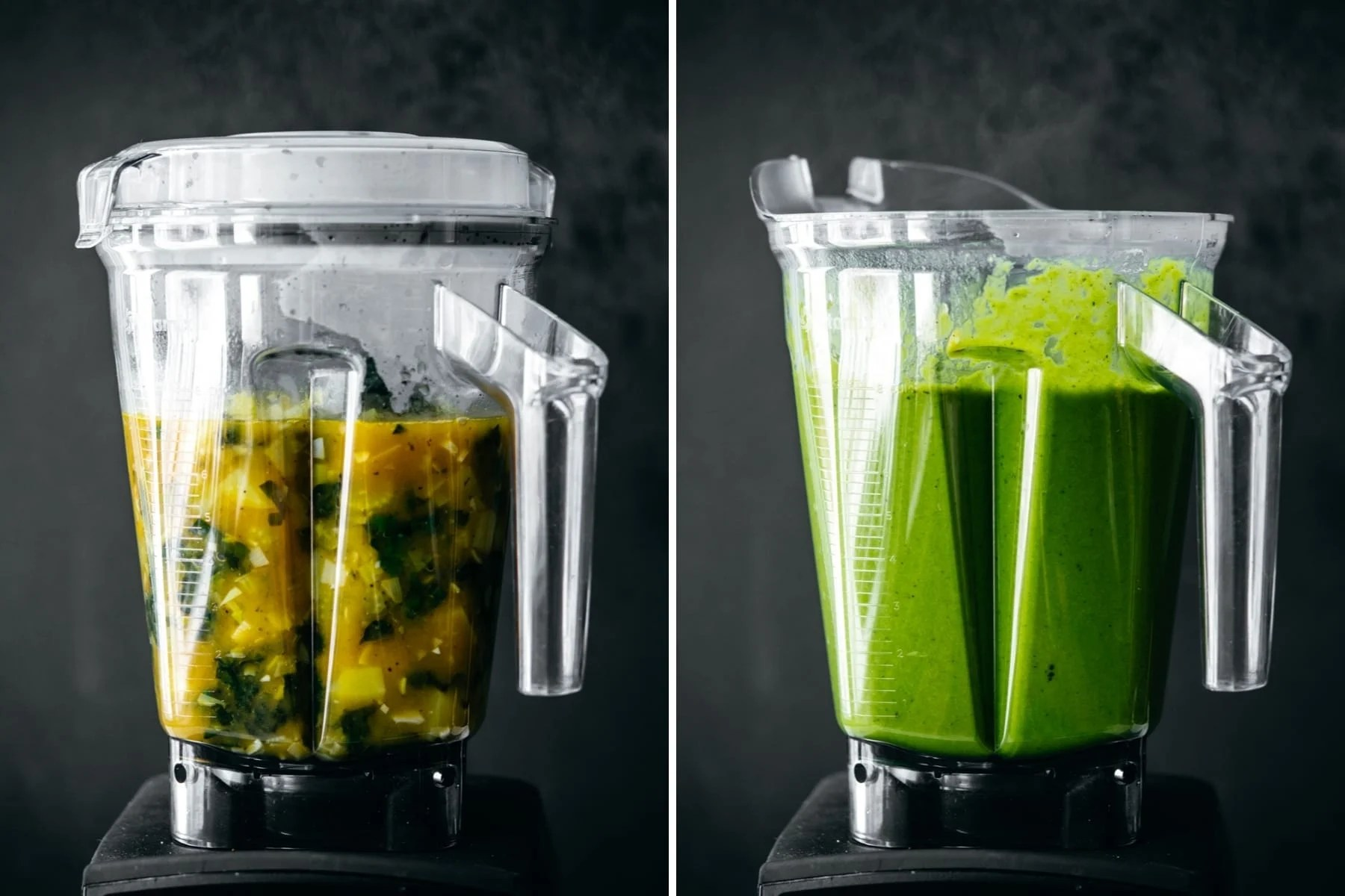 side view of creamy vegan potato kale soup in blender before and after blending.