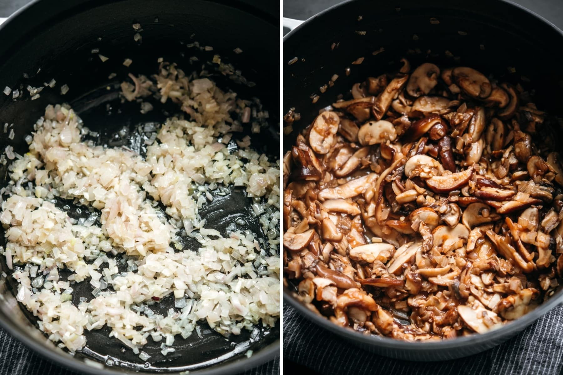 sautéed shallots, garlic and mushrooms in a dutch oven.