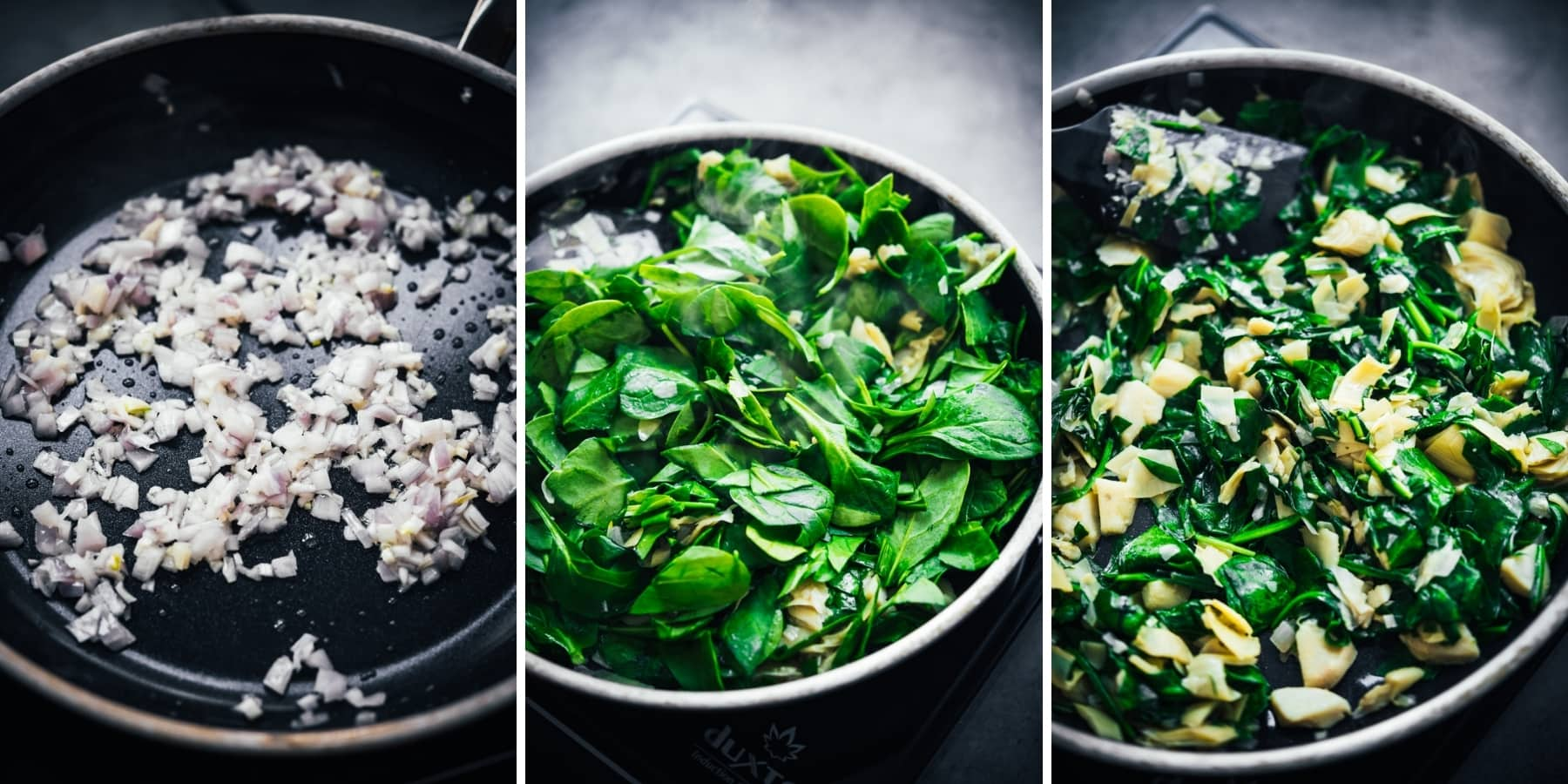3 photo collage of sautéing shallots, artichokes and spinach in pan.