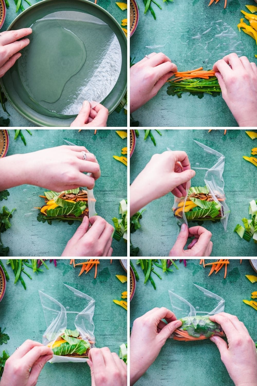 overhead view of how to assemble a summer roll in 6 steps.
