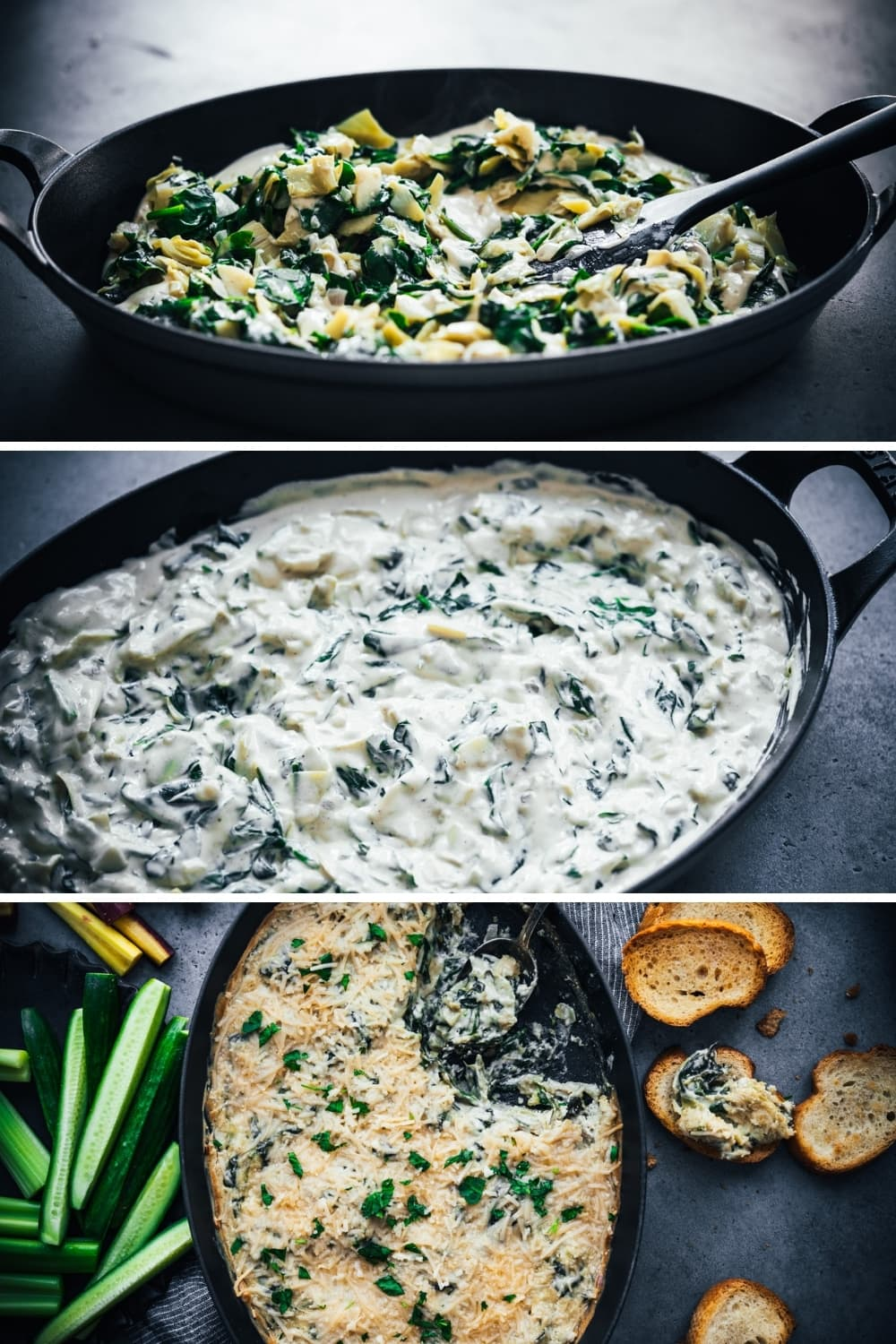 assembling spinach artichoke dip in large skillet.
