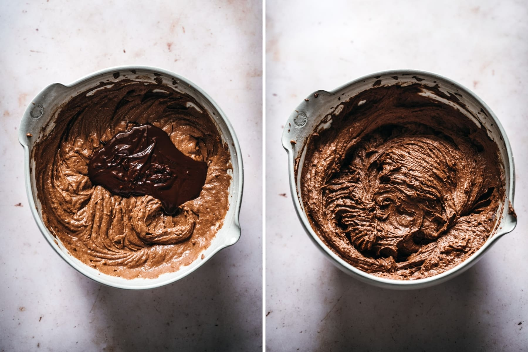 before and after mixing melted dark chocolate into cupcake batter.