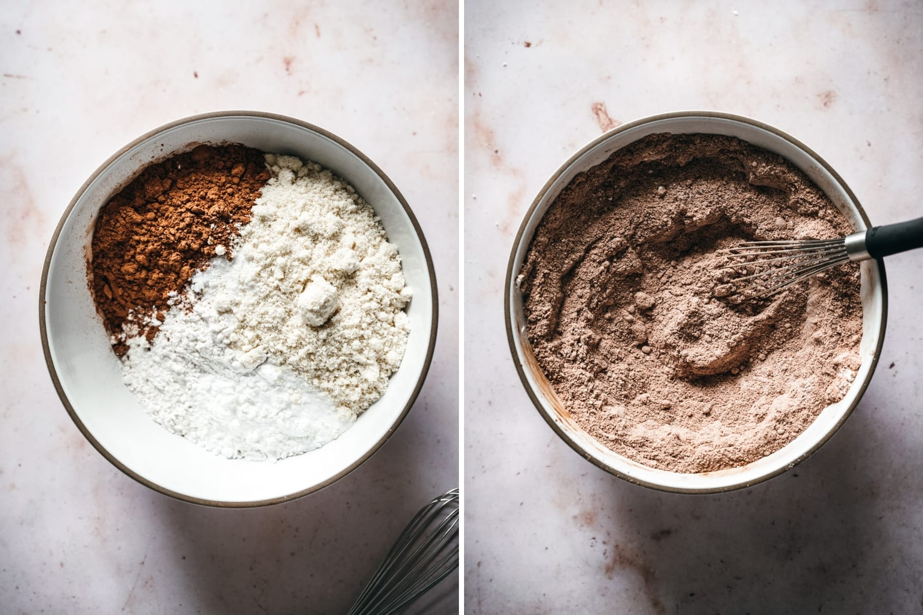 before and after whisking together dry ingredients for vegan chocolate cupcakes.