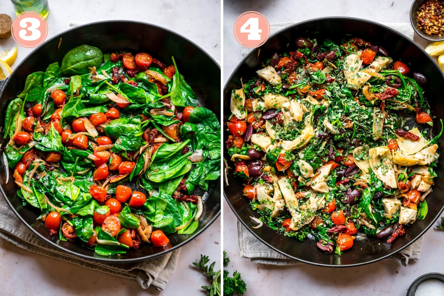 on the left: sautéed spinach and tomatoes. on the right: sautéed ingredients for greek pasta.